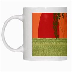 Sunset Orange Green Tree Sun Red Polka White Mugs by Mariart
