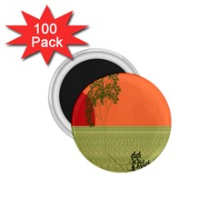 Sunset Orange Green Tree Sun Red Polka 1 75  Magnets (100 Pack)  by Mariart