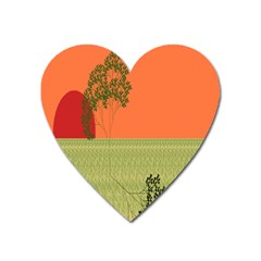 Sunset Orange Green Tree Sun Red Polka Heart Magnet by Mariart