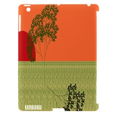 Sunset Orange Green Tree Sun Red Polka Apple Ipad 3/4 Hardshell Case (compatible With Smart Cover) by Mariart
