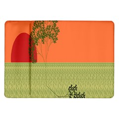Sunset Orange Green Tree Sun Red Polka Samsung Galaxy Tab 10 1  P7500 Flip Case by Mariart