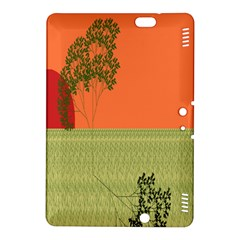 Sunset Orange Green Tree Sun Red Polka Kindle Fire Hdx 8 9  Hardshell Case by Mariart
