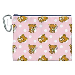 Kawaii Bear Pattern Canvas Cosmetic Bag (xxl) by Nexatart