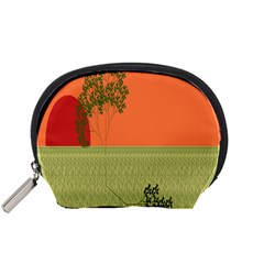 Sunset Orange Green Tree Sun Red Polka Accessory Pouches (small)  by Mariart
