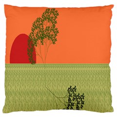 Sunset Orange Green Tree Sun Red Polka Large Flano Cushion Case (one Side) by Mariart