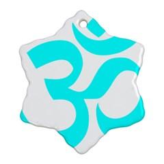 Hindu Om Symbol (cyan) Snowflake Ornament (two Sides) by abbeyz71