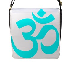Hindu Om Symbol (cyan) Flap Messenger Bag (l)  by abbeyz71