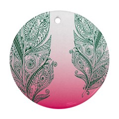 Toggle The Widget Bar Leaf Green Pink Ornament (round) by Mariart