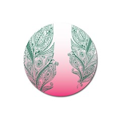 Toggle The Widget Bar Leaf Green Pink Magnet 3  (round) by Mariart