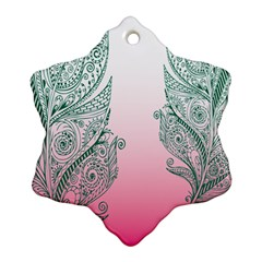 Toggle The Widget Bar Leaf Green Pink Snowflake Ornament (two Sides) by Mariart