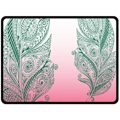 Toggle The Widget Bar Leaf Green Pink Double Sided Fleece Blanket (large)  by Mariart