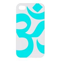 Aum Om Cyan Apple Iphone 4/4s Premium Hardshell Case by abbeyz71