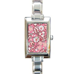 Pink Flower Pattern Rectangle Italian Charm Watch by Nexatart