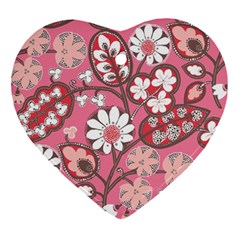 Pink Flower Pattern Ornament (heart) by Nexatart