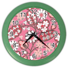 Pink Flower Pattern Color Wall Clocks by Nexatart