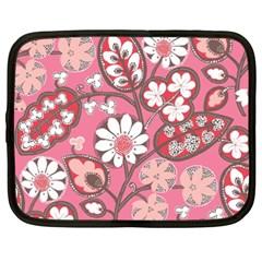 Pink Flower Pattern Netbook Case (xxl)  by Nexatart