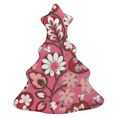 Pink Flower Pattern Ornament (christmas Tree)