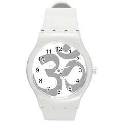 Hindu Om Symbol (light Gray) Round Plastic Sport Watch (m) by abbeyz71