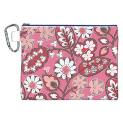 Pink Flower Pattern Canvas Cosmetic Bag (xxl) by Nexatart