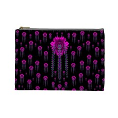 Wonderful Jungle Flowers In The Dark Cosmetic Bag (large)  by pepitasart