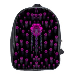 Wonderful Jungle Flowers In The Dark School Bags (xl)  by pepitasart