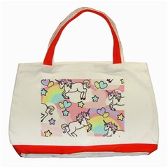 Unicorn Rainbow Classic Tote Bag (red)