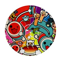 Cute Doodles Wallpaper Background Ornament (round) by Nexatart