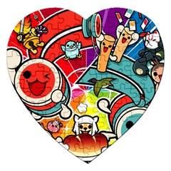 Cute Doodles Wallpaper Background Jigsaw Puzzle (heart) by Nexatart