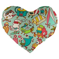 Summer Up Pattern Large 19  Premium Heart Shape Cushions by Nexatart
