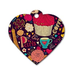 Cute Colorful Doodles Colorful Cute Doodle Paris Dog Tag Heart (one Side) by Nexatart