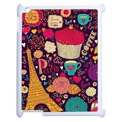 Cute Colorful Doodles Colorful Cute Doodle Paris Apple iPad 2 Case (White) by Nexatart