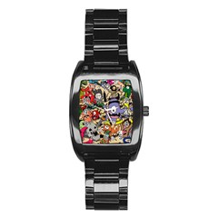 Hipster Wallpaper Pattern Stainless Steel Barrel Watch by Nexatart