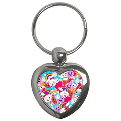 Cute Cartoon Pattern Key Chains (heart)  by Nexatart