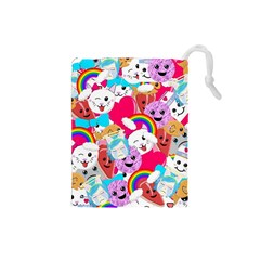 Cute Cartoon Pattern Drawstring Pouches (small)  by Nexatart