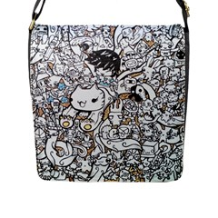 Cute Doodles Flap Messenger Bag (l)  by Nexatart