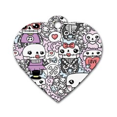 Kawaii Graffiti And Cute Doodles Dog Tag Heart (Two Sides)