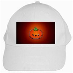 Simple Orange Pumpkin Cute Halloween White Cap