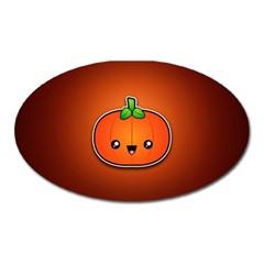 Simple Orange Pumpkin Cute Halloween Oval Magnet by Nexatart