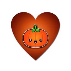 Simple Orange Pumpkin Cute Halloween Heart Magnet by Nexatart