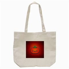 Simple Orange Pumpkin Cute Halloween Tote Bag (cream) by Nexatart