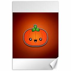 Simple Orange Pumpkin Cute Halloween Canvas 24  X 36  by Nexatart