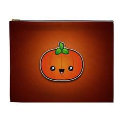 Simple Orange Pumpkin Cute Halloween Cosmetic Bag (xl) by Nexatart