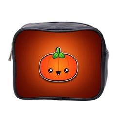 Simple Orange Pumpkin Cute Halloween Mini Toiletries Bag 2 Side by Nexatart