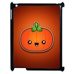 Simple Orange Pumpkin Cute Halloween Apple Ipad 2 Case (black) by Nexatart