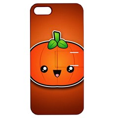 Simple Orange Pumpkin Cute Halloween Apple Iphone 5 Hardshell Case With Stand by Nexatart