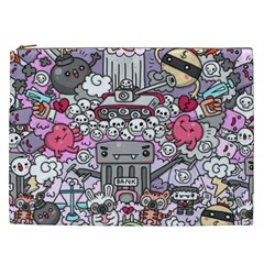 0 Sad War Kawaii Doodle Cosmetic Bag (xxl)  by Nexatart