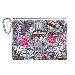 0 Sad War Kawaii Doodle Canvas Cosmetic Bag (l) by Nexatart
