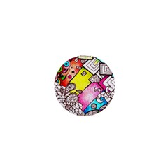 Beautiful Colorful Doodle 1  Mini Buttons by Nexatart