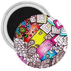 Beautiful Colorful Doodle 3  Magnets