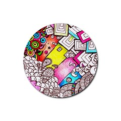 Beautiful Colorful Doodle Rubber Coaster (round)  by Nexatart